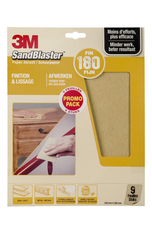 3M Sandblaster Lot de 9 Feuilles Abrasives pour Dé capage P80 Command GC801049294
