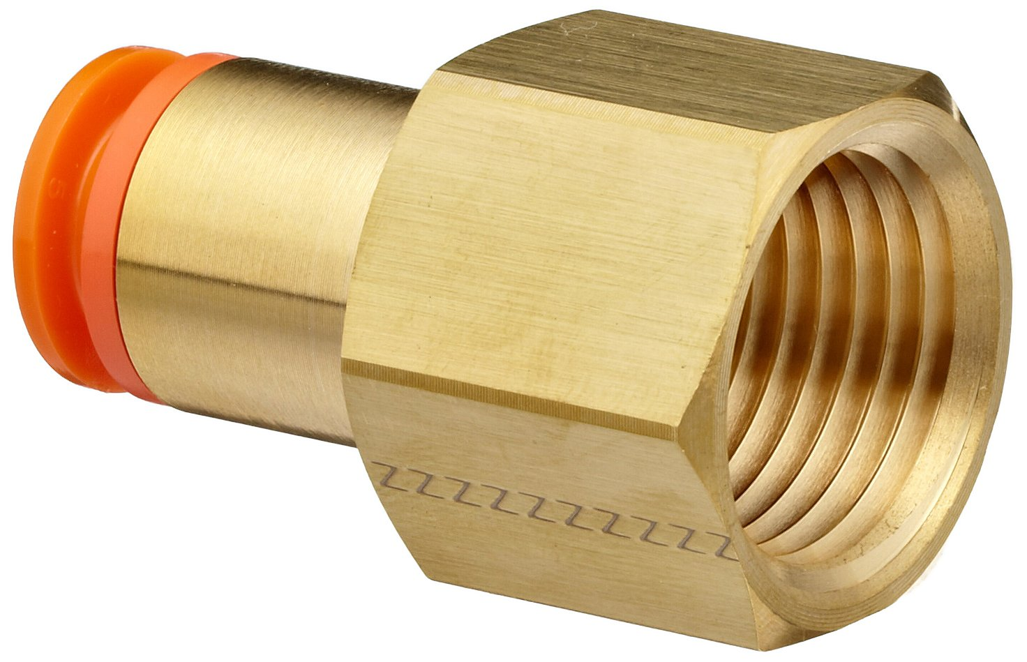 SMC KQ2F11-37A Brass Push-to-Connect Tube Fitting, Adapter, 3/8'' Tube OD x 1/2'' NPT Female (Pack of 10)