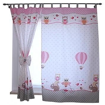 tuptam kinderzimmer vorhange 2er set mit schleifen 155x95cm farbe eulen 2 rosa grosse