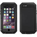 Alienwork Schutzhülle für iPhone 6/6s geeignet für Fingerabdruck Hülle Case Bumper Stoßfest Staubdicht Schneedicht Metall schwarz AP610-01