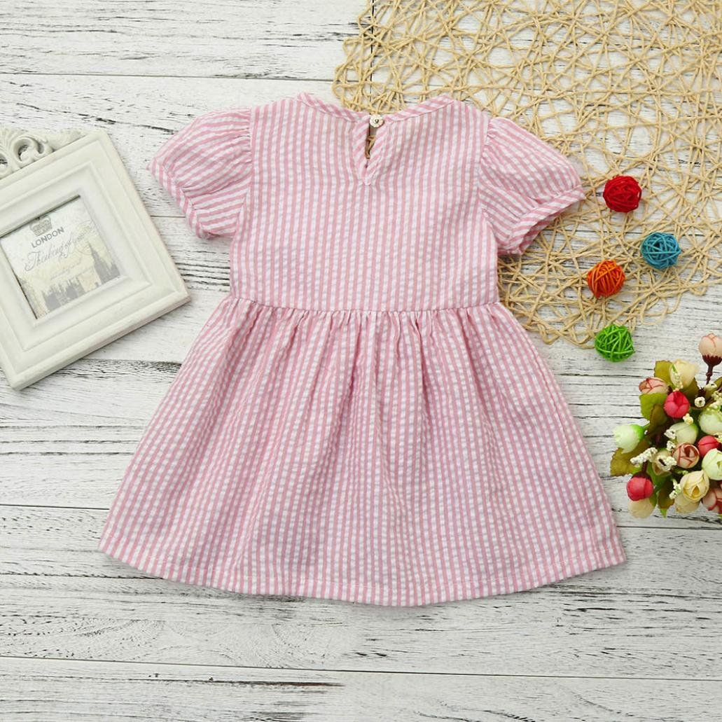 b50512833c27d Sixcup Baby Girl Dresses for 0-24 Months Kids, Toddler Girls Cute Short  Sleeve Summer Suit Striped Bow Princess Outfits Clothes Mini Dress  Camouflage: ...