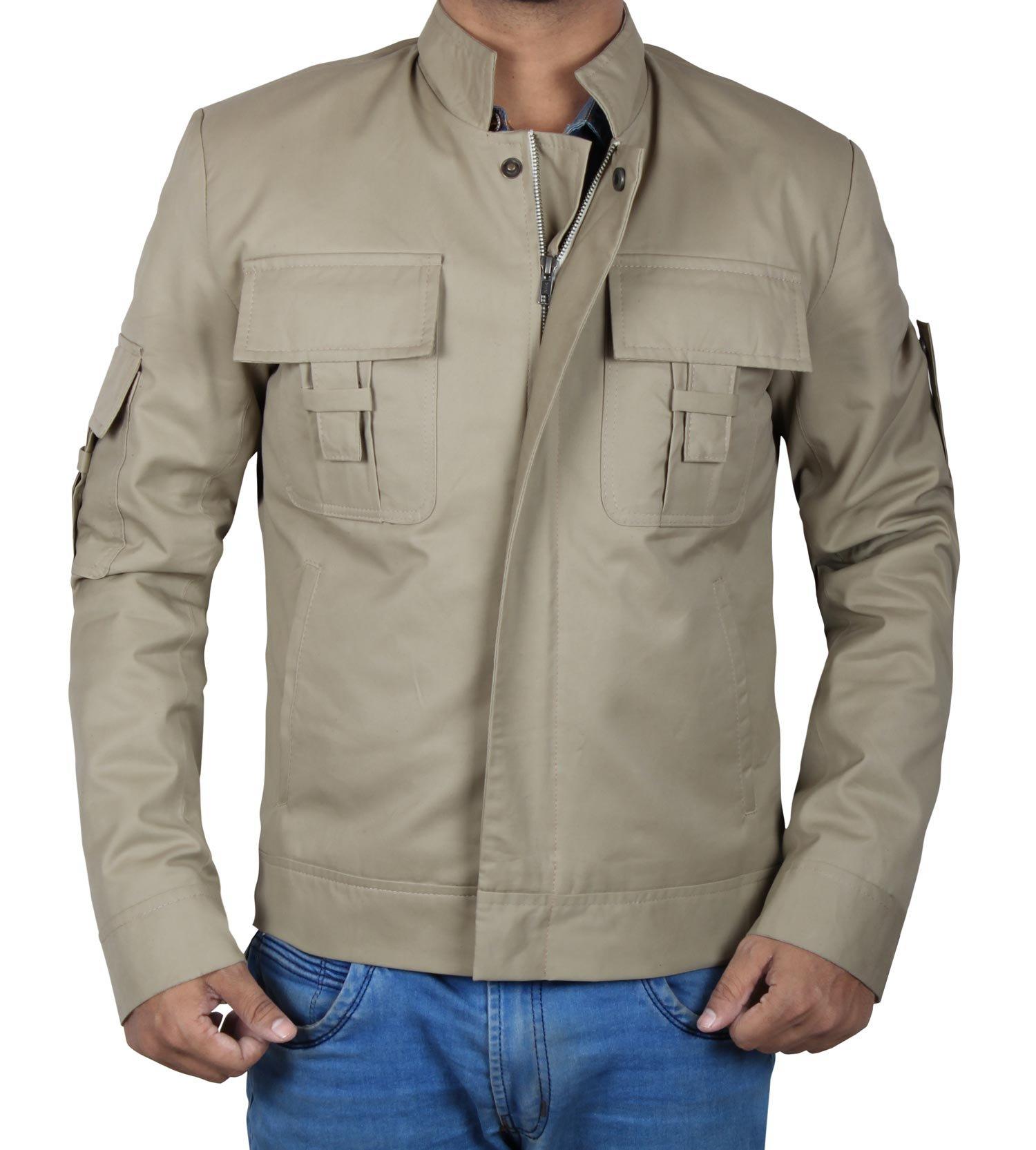 Mens Skywalker Cotton Jacket | Mens Cotton Jackets For Summer | Beige Luke Skywalker Jacket, 2XL