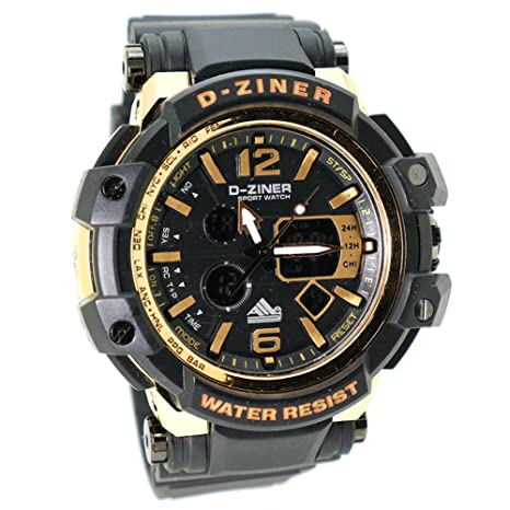 d-ziner del hombre Digital y Analógico deportes reloj LED reloj cronógrafo correa de caucho de estilo: Amazon.es: Relojes