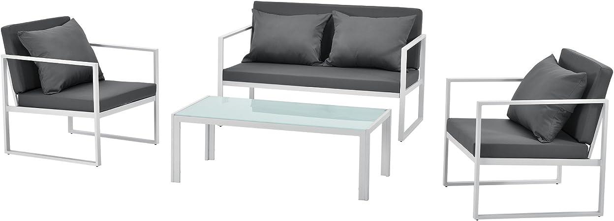 [casa.pro]® set de muebles de jardín 2 x silla de jardín sofá mesa de centro de vidrio blanco: Amazon.es: Hogar