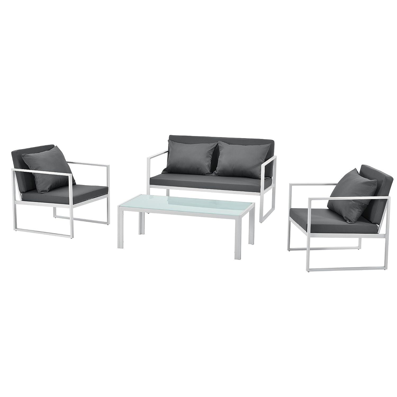 /® 2 x Poltrona da giardino casa.pro Grigio//Bianco Mobile da giardino in un set di 2 70 x 60 x 60 cm