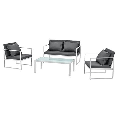 [casa.pro]® set de muebles de jardín 2 x silla de jardín sofá mesa de centro de vidrio blanco