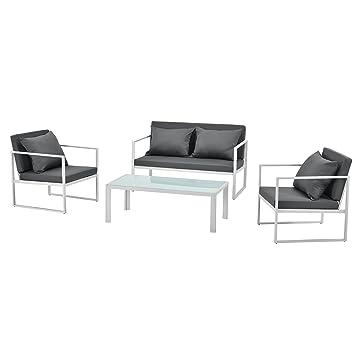 [casa.pro]®] Salon de Jardin Ensemble de Jardin Table Basse avec Canapé et  Chaises Extérieures Métal Verre Polyester Blanc