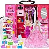 ebuddy Doll Closet Wardrobe for 11.5 Inch Girl Doll Lot 56 Pcs Doll Accessories Rose