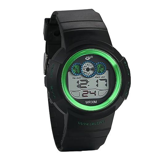 Jewelrywe Reloj de pulsera para niños niño digital correa negro de plástico two-times zonas calendario despertador 12/24H Semana: Amazon.es: Relojes