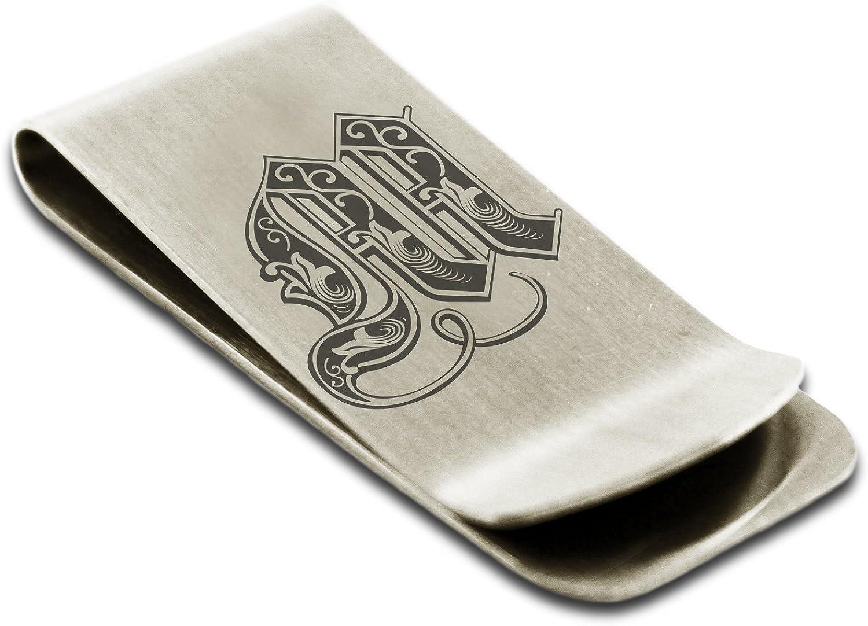 Acier Inoxydable Lettre M Initiale Royal Porte-Cartes de cr/édit avec Pince /à Billets Monogramme grav/é