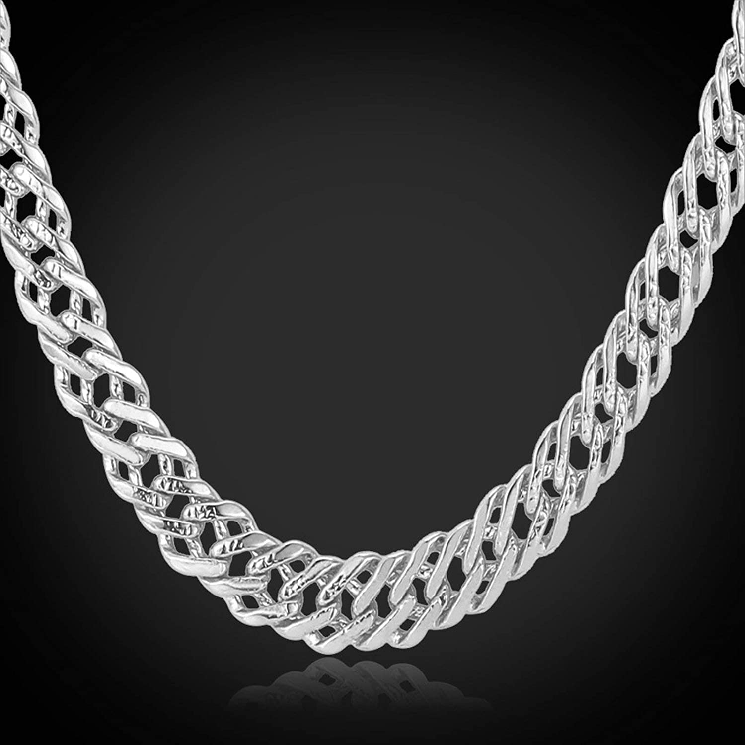 Aooaz Alloy Necklace Mens Silver Chain Necklace Chain Necklaces Jewelry Hip Hop Chain Men L:18-26inch