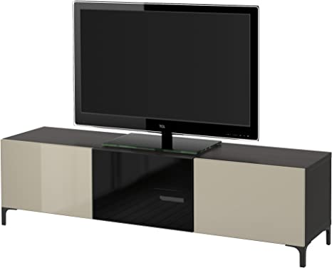 Zigzag Trading Ltd IKEA BESTA - Mueble TV con cajones y Puertas Negro-marrón/selsviken Alto Brillo/Color Beige Cristal Ahumado: Amazon.es: Hogar