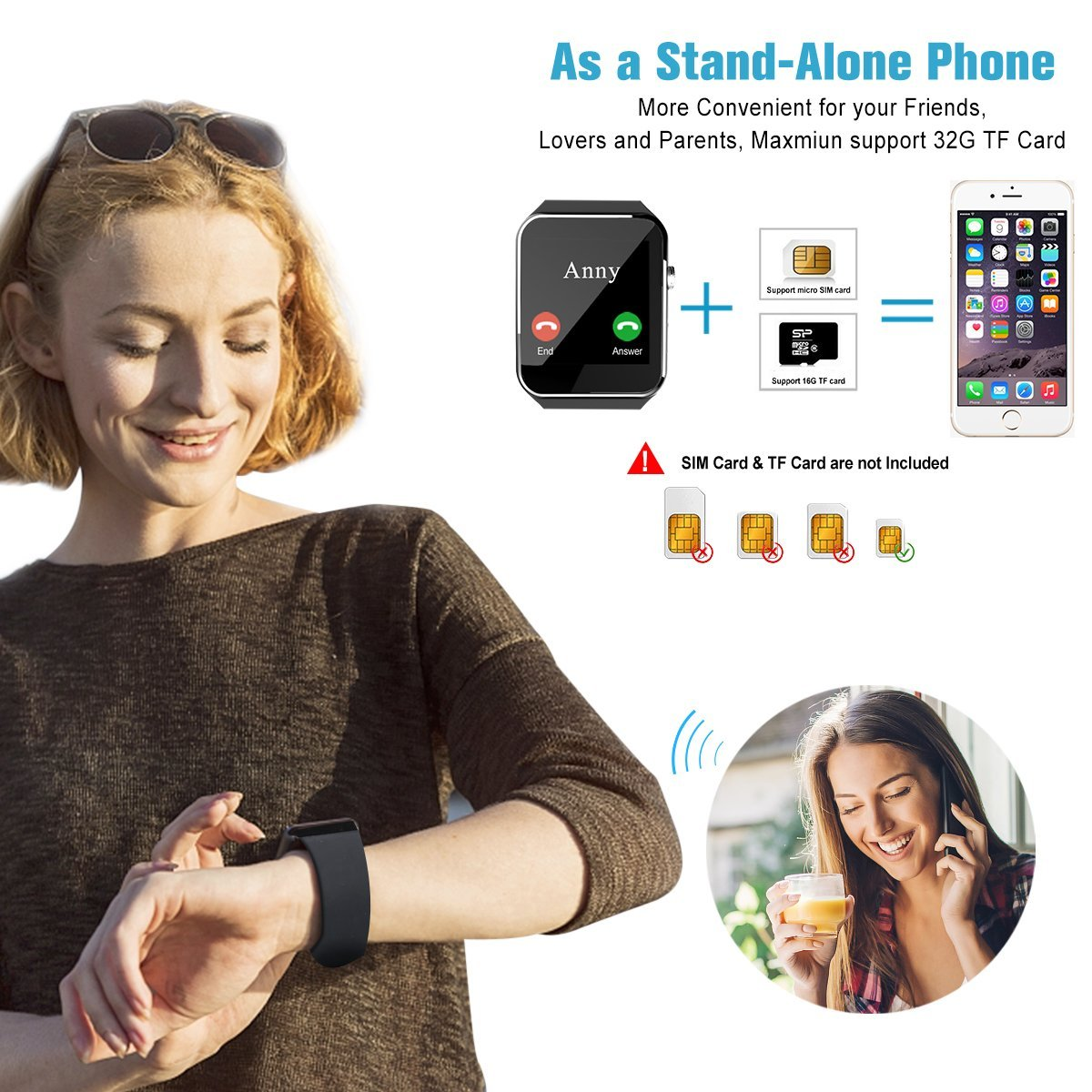 2018 Bluetooth Smart Watch for Andriod phones, iphone Smartwatch with Camera,Waterpfoof Watch Cell Phone ,Smart Wrist Watch Touchscreen for Android Samsung IOS Iphone X 87 6 5 Plus Men Women Youth by Luckymore (Image #2)