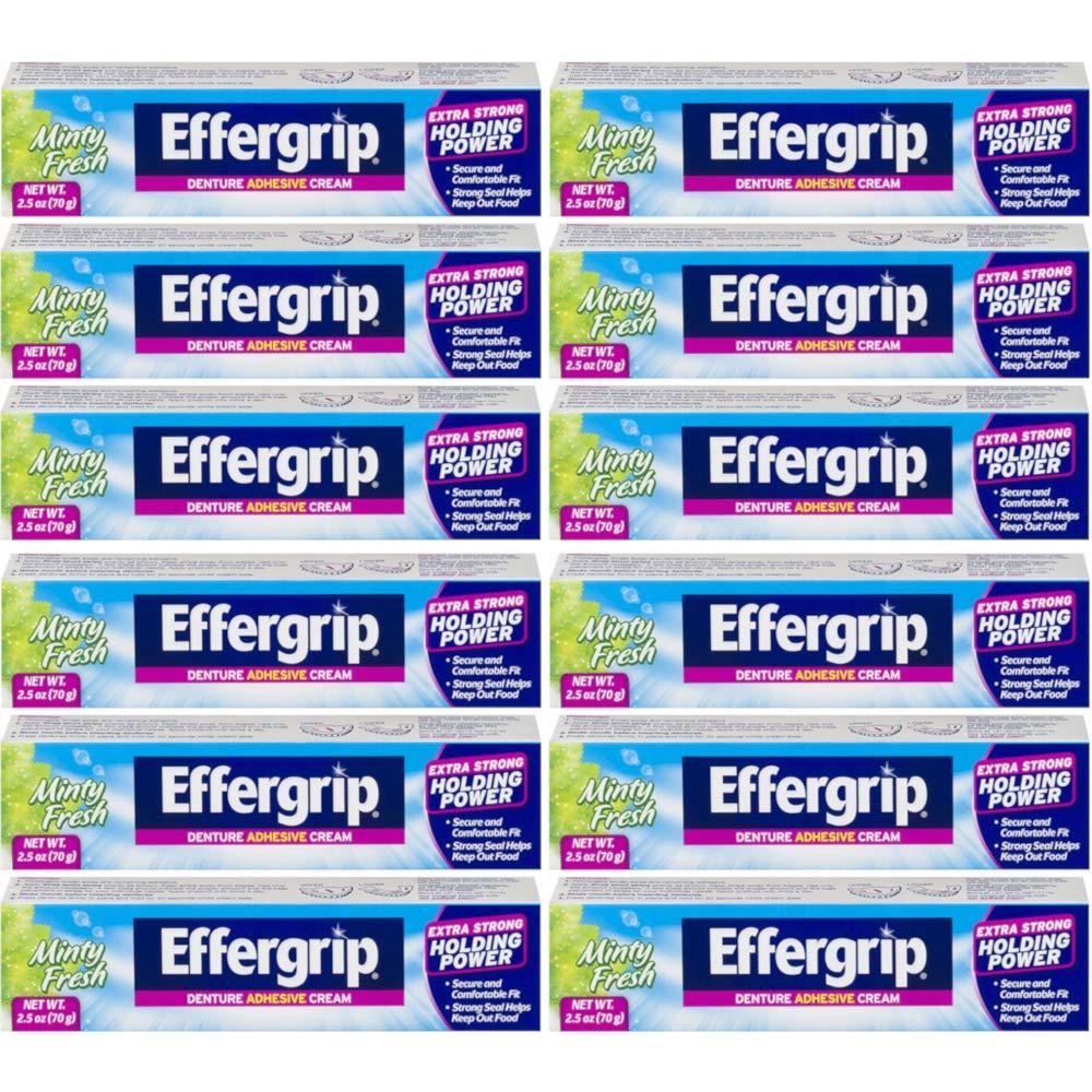 Effergrip Denture Adhesive Cream 2.50 oz (Pack of 12)
