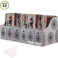 Evelots Magazine File Holder/Organizer-4 Inch Wide-Mandala-with Labels-Set/12
