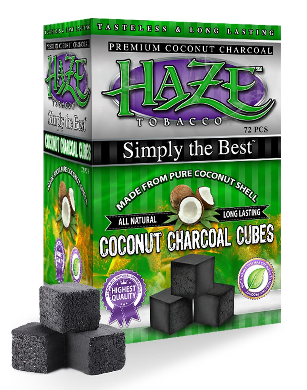 HAZE CUBE COCONUT CHARCOAL SUPPLIES FOR HOOKAHS – 72pc (1kg) or 1440pc (20kg) Non-quick light shisha coals for hookah pipes. All-natural coal accessories that are Tasteless, Odorless, & Chemic (1440) by Haze (Image #2)