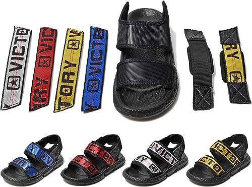 Gaatpot Mixte Enfant Sandales DIY Couleur Été pour Piscine et Plage Plates Bout Ouvert Chaussures avec des BlancRougeJauneBleue Rayures