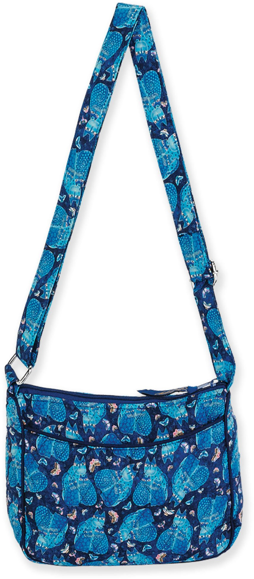 Laurel Burch Quilted Cotton E/W Crossbody Bag (Indigo Cats)