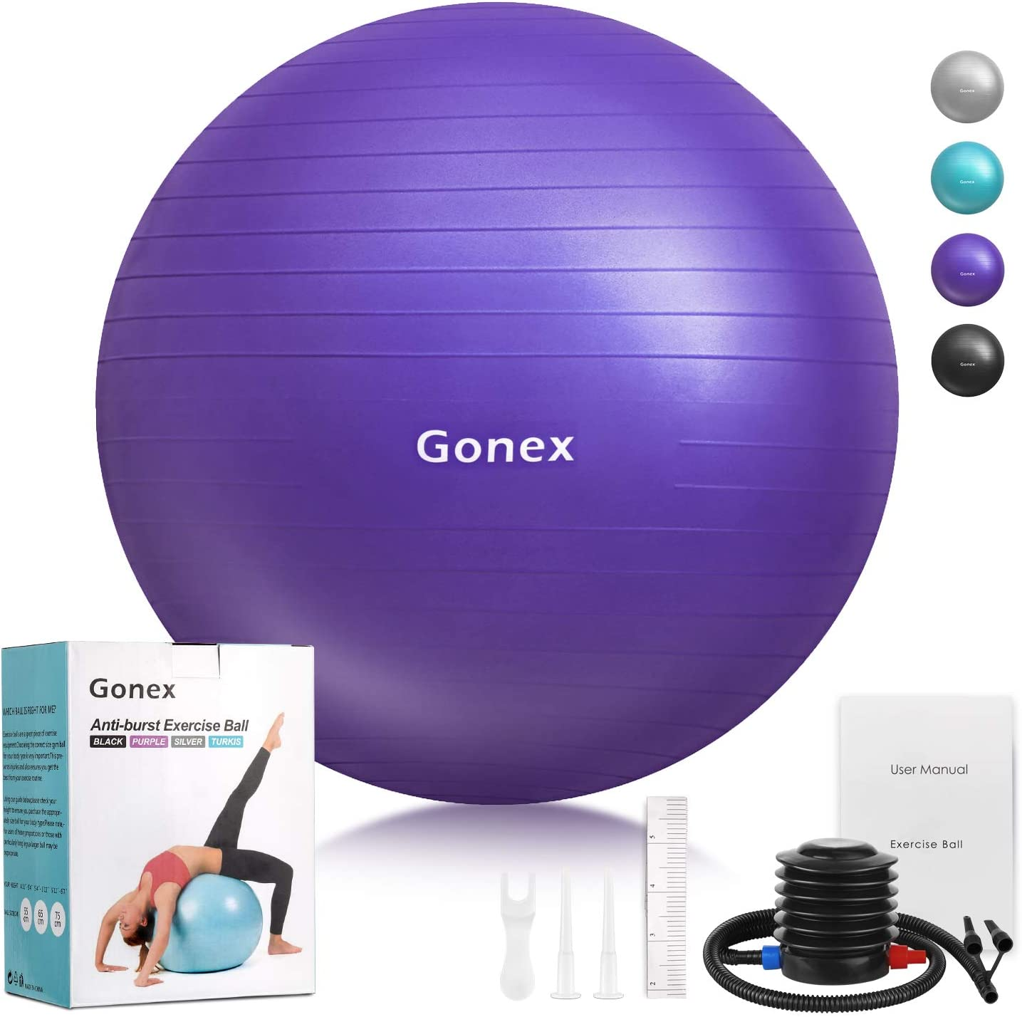 Gonex Fitness Exercise Ball 55cm 65cm 75cm Anti-Burst Non-Slip Stability Balance Ball Supports 2200lbs for Birthing Yoga Pilates Desk Chairs Therapy With Quick Pump