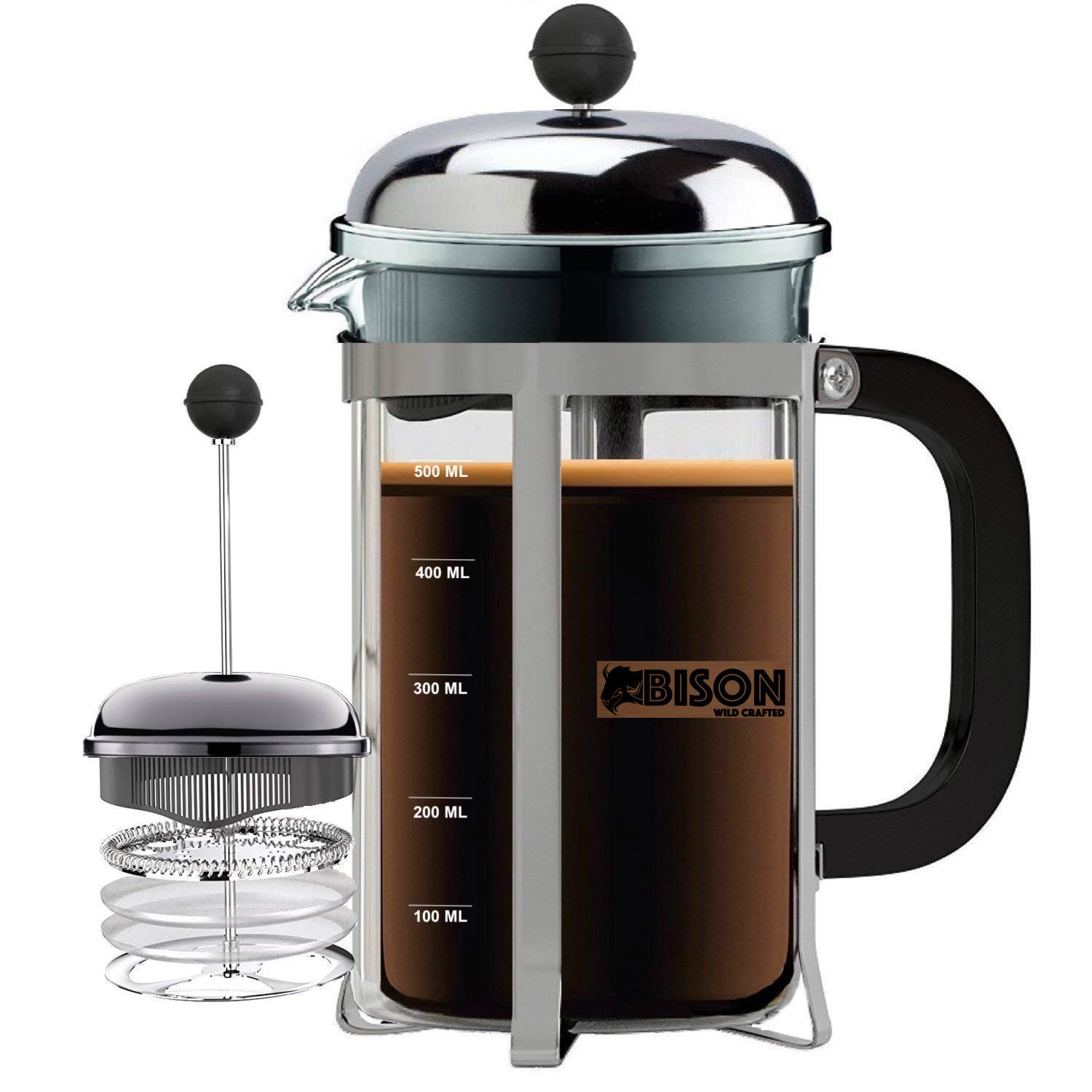 Bison International Stainless Steel Press Coffee/Tea Maker with 4 Level Filtration Borosilicate Glass with Extra Screen and Spoon (Black, 600 ml)