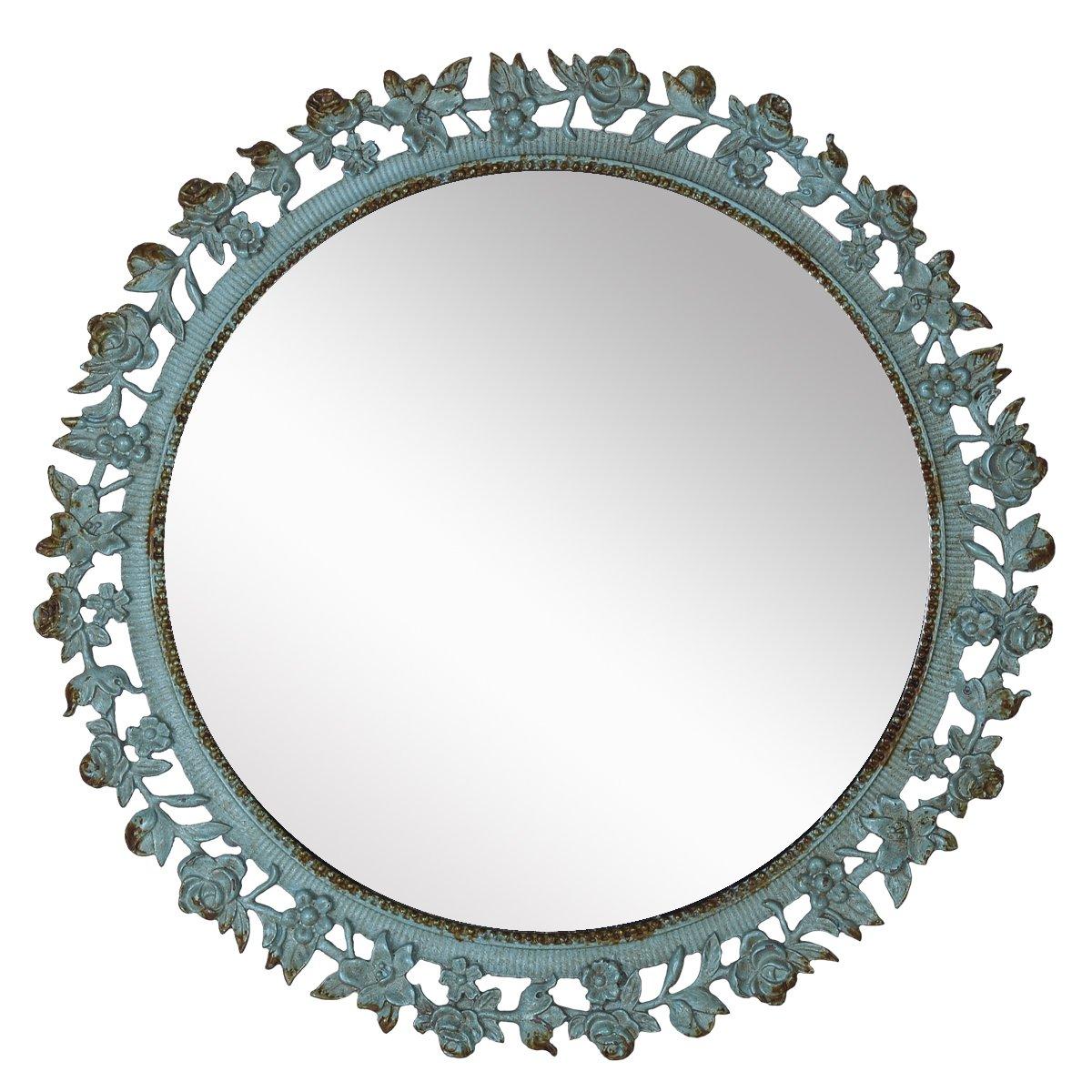 NIKKY HOME Decorative Vintage Pewter Round Vanity Makeup Mirror Lace Border, Aqua, 9.3'' x 9.3'' x 1.8''