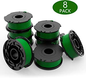 yoelike String Trimmer Line Replacement Spools for Black and Decker GH3000, GH3000R, LST540, LST540B, 20ft 0.08 Inch Auto Feed Weed Eater String Compatible with Black Decker SF- 080 (8 Packs)