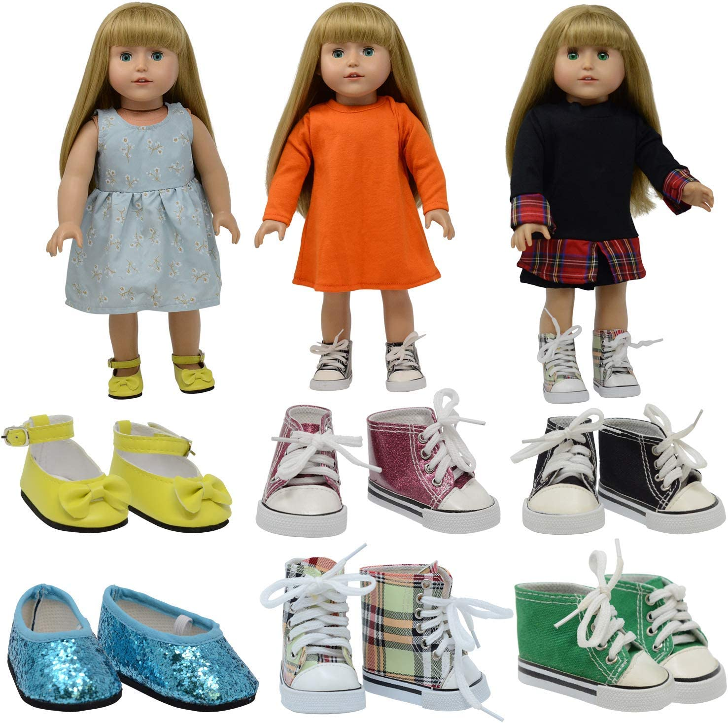 """The New York Doll Collection D360 6 Pairs of Doll Shoes Fits 18"""" Dolls (Style 1) (Pack of 12)"""