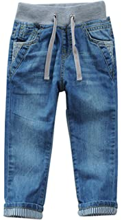032b5846f SellerFun Boys Kids Drawstring Elastic Mid Waist Washed Full Length Straight  Trousers Denim…