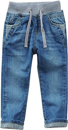 Amazon Com Toddler Kid Boy Elastic Mid Waist Washed Full Length Straight Pants Denim Jeans Clothing