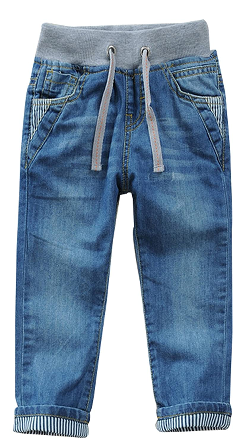 jiayou Boys Kids Drawstring Elastic Mid Waist Full Length Straight Pants Denim Jeans USMK023