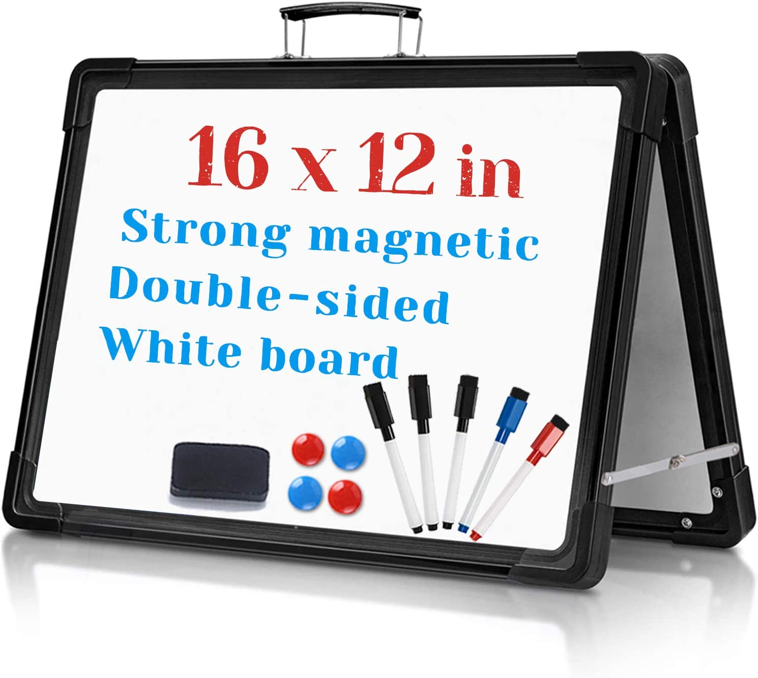 Mini Dry-Erase Board, 16x12 Inches Small Portable Foldable Desktop Magnetic-Whiteboard, Small Double Sided with Stand White Board Easel, for Kids Students Drawing Teaching Memo Office Home,Black