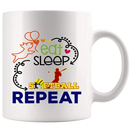 4e2e8cdf389 Eat Sleep Repeat Softball Mug Coffee Cup Tea Mugs Gift - Son Daughter  Routine Day Player