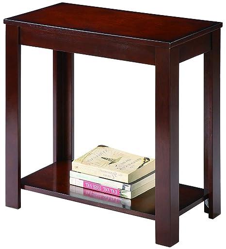 Amazon.com: Mesa de extremo estrecho con estante de ...
