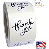 "Heart Love Shape White Paper Thank You Adhesive Label, 1.5"", 500 Stickers per Roll"