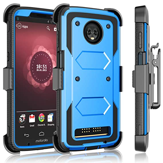 wholesale dealer 7a434 72d41 Tekcoo for Motorola Moto Z3 Play Case/Verizon Moto Z3 Holster Clip,  [Tshell] [Built-in Screen] Secure Swivel Locking Belt Defender Full Body  Kickstand ...