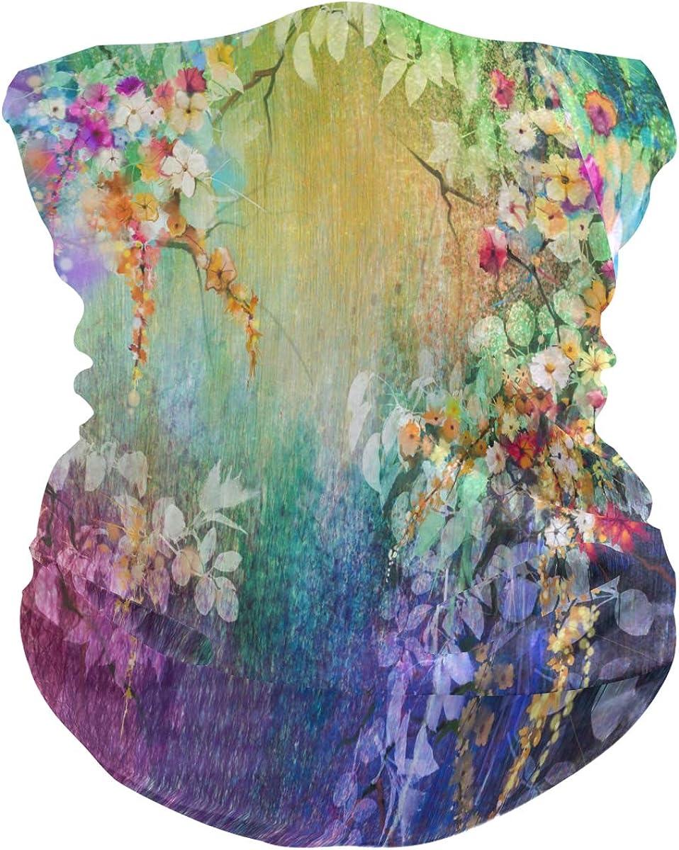 ALAZA Abstract Floral Blossom Flower Headwear Face Magic Scarf Mask Headband Bandana Outdoor Sports for Women Men