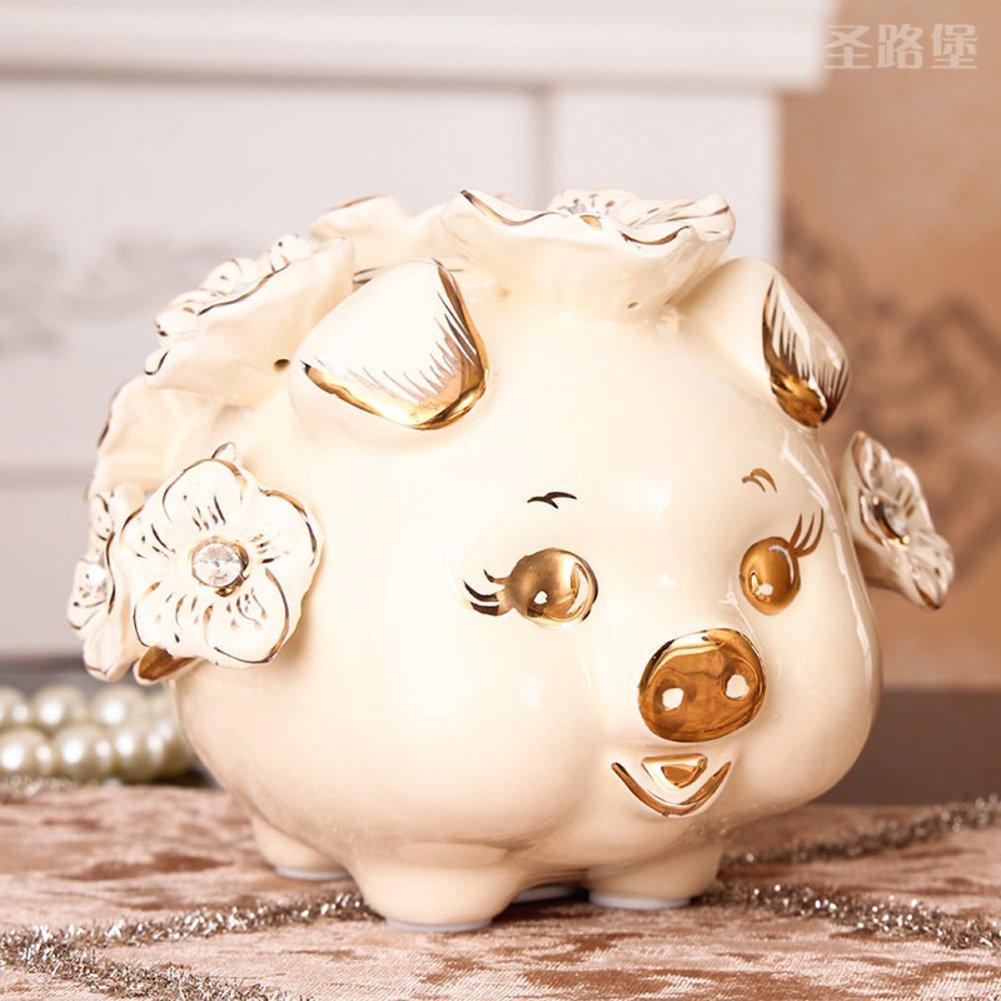 European ceramic coin piggy bank piggy bank decoration interior decoration creative gift pig piggy bank Children's bedroom decoration piggy bank-B