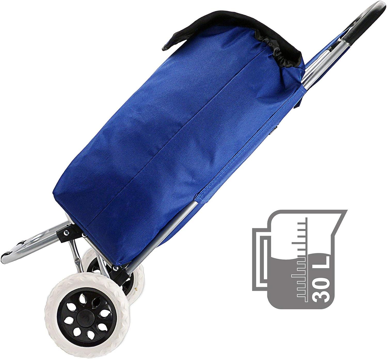 Cepewa Stabiler gro/ßer Einkaufstrolley 45 L Leichter multifunktionaler Einkaufskorb mit robusten Rollen und Klapp Gestell blau