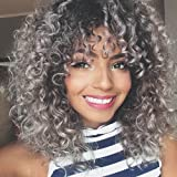 ForQueens Synthetic Afro Wigs for Women Short Kinky Curly Wig with Bangs Ombre Grey Heat Resistant Fiber Natural Hair for Black Women