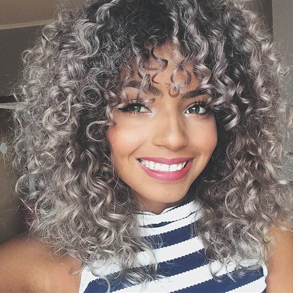 Aisi Queens Synthetic Afro Wigs For Women Short Kinky Curly Wig With Bangs Ombre Grey Heat Resistant Fiber Natural Hair For Black Women