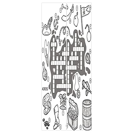 3d Door Wall Mural Wallpaper Stickers [ Word Search Puzzle,Colorless Pirates Themed Educational Puzzle