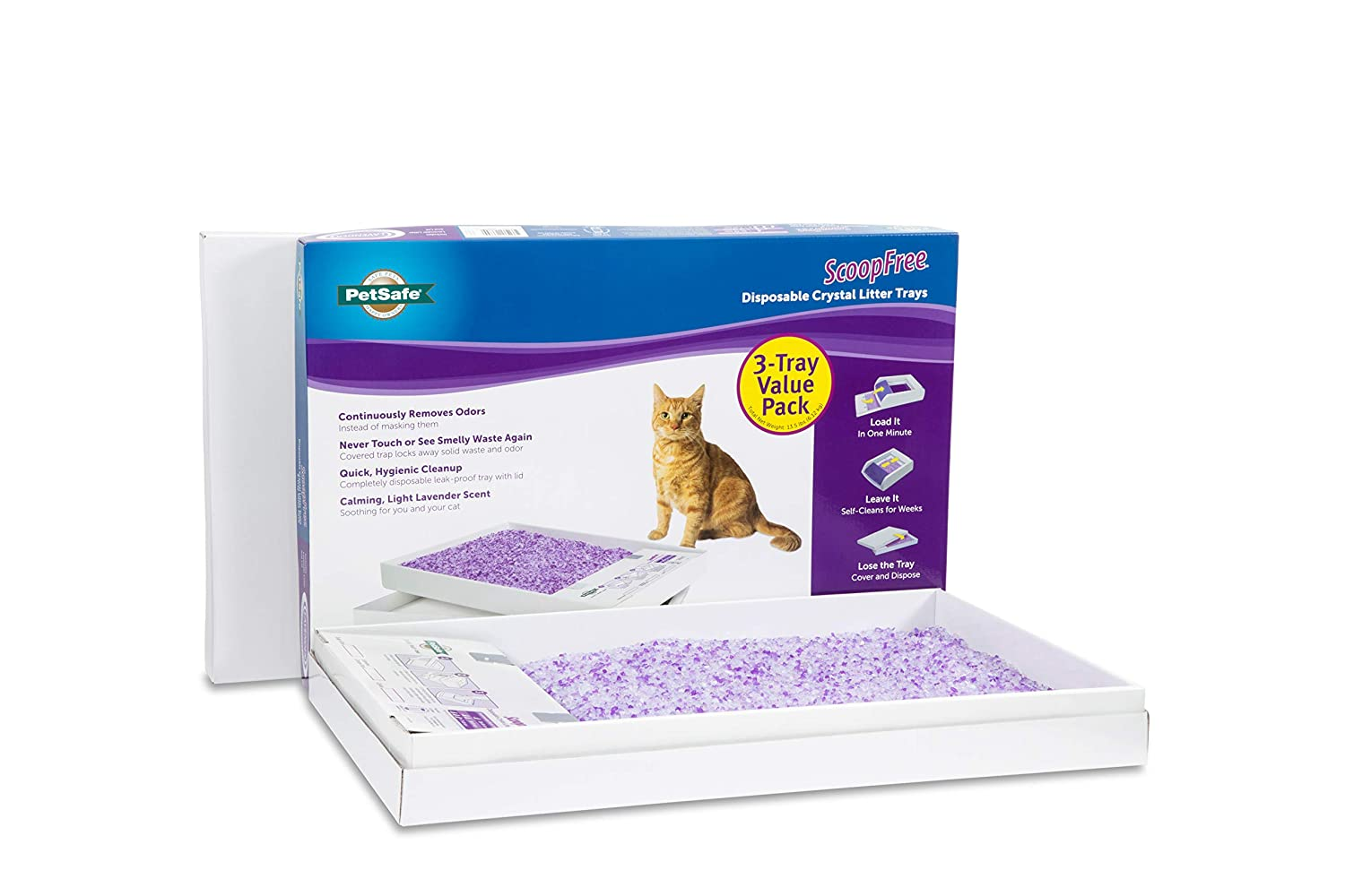 PetSafe ScoopFree Self-Cleaning Cat Litter Box Tray Refills, Non-Clumping Crystal Cat Litter, 3-Pack Waste Management PAC00-14231