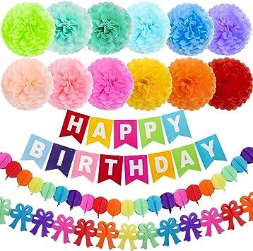 Amazon.com: ZJHAI 15 pompones de papel de cumpleaños de 10 ...