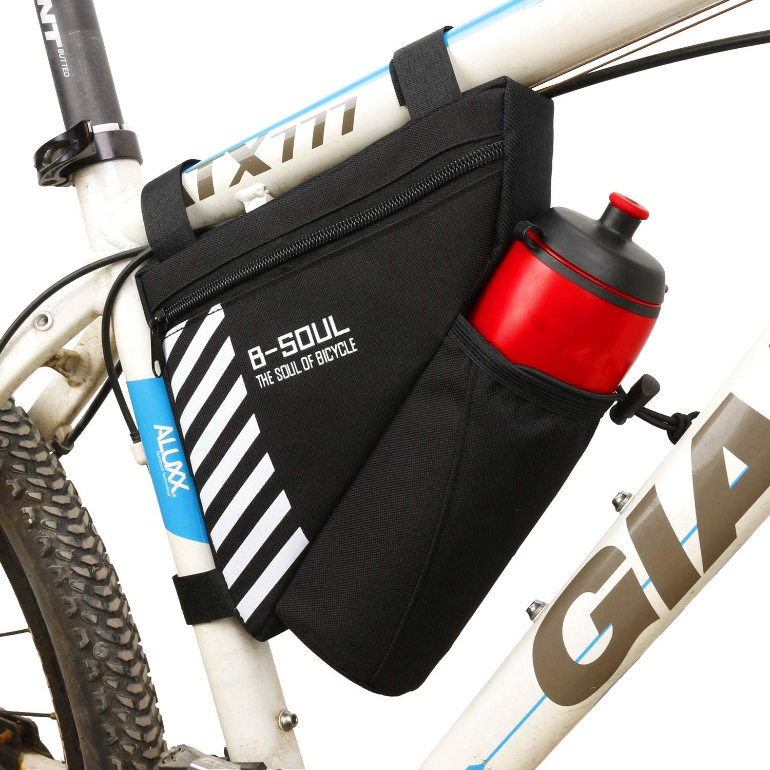 Diniiko Bike Triangle Frame Bag with Water Bottle Pouch Water Resistance Polyester Front Tube Bag Saddle Bag for Road Bicycle and Most Types of Bike
