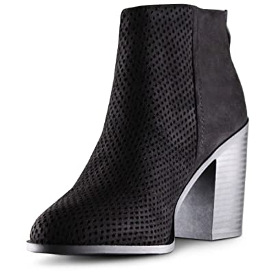 Womens Almond Toe Perforated Laser Cut Chunky Block High Heels Ankle Booties Boots | Ankle & Bootie