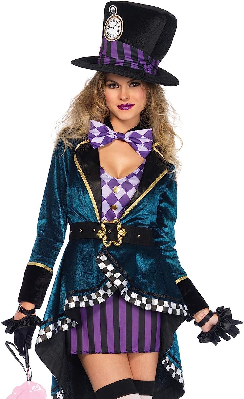 Amazon Com Leg Avenue Women S Delightful Mad Hatter Halloween Costume Clothing