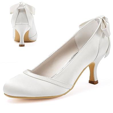 9c1af394865f3c Elegantpark HC1804 Femme Bout fermé Mi Talon Escarpins Arc Satin Chaussures  de mariée de Mariage Blanc
