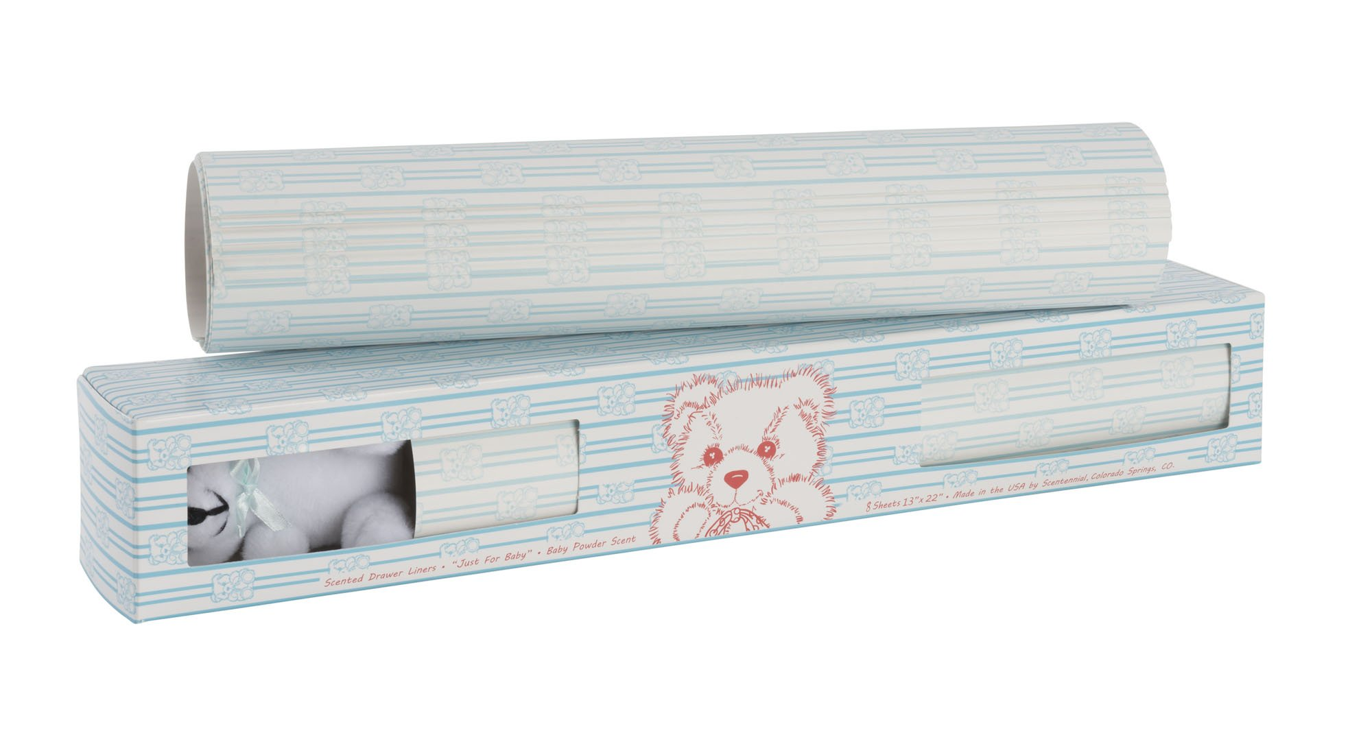 Scentennials BABY ORIGINAL BLUE WITH TEDDY BEAR (8 SHEETS) Scented Fragrant Shelf & Drawer Liners 13'' x 22'' - Great for Nursery Dresser, Bathroom, Vanity & Linen Closet