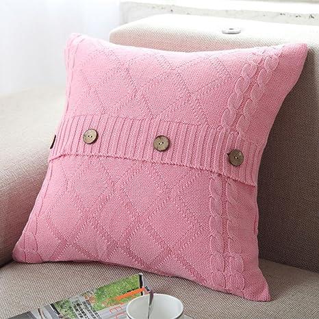 smileq tejer botón decorativo fundas de almohada Fashion ...