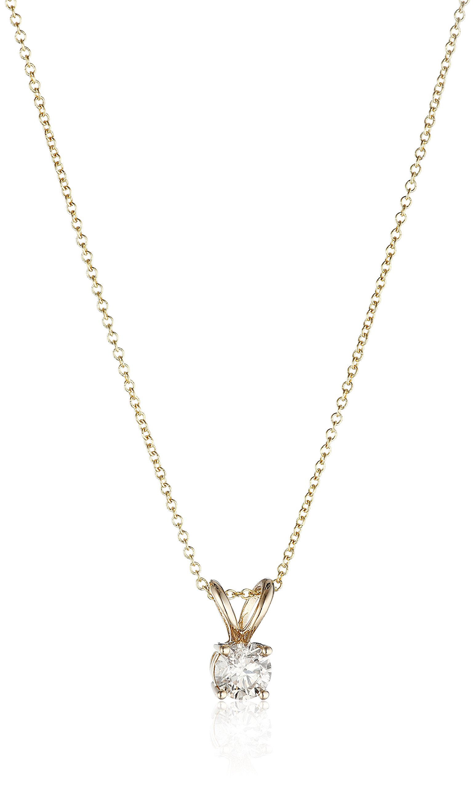 14k Yellow Gold 16'' Adjustable to 18'' 4-Prong Set Round-Cut Diamond Pendant (1/2 cttw, J-K Color, I2-I3 Clarity)